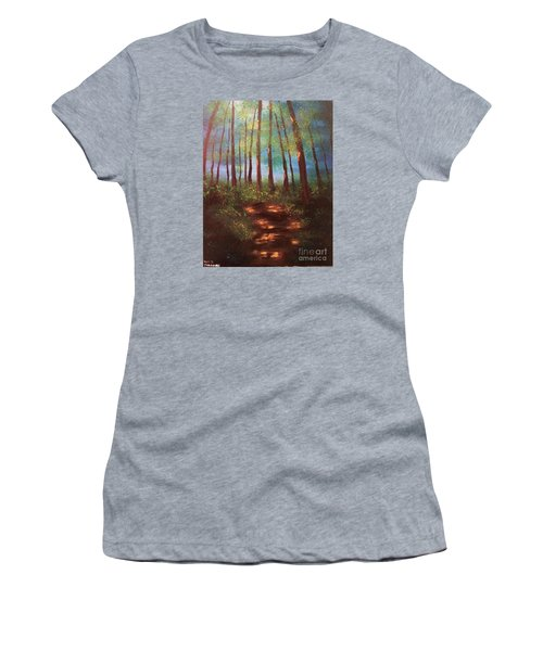 Women's T-Shirt (Junior Cut) featuring the painting Forests Glow by Denise Tomasura