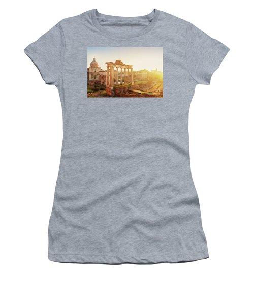 Forum - Roman Ruins In Rome At Sunrise Women's T-Shirt (Junior Cut) by Anastasy Yarmolovich