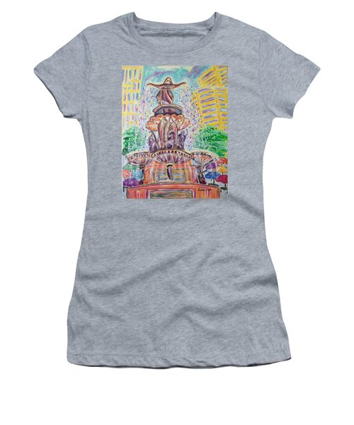 Women's T-Shirt (Junior Cut) featuring the painting Fountain Square  Cincinnati  Ohio by Diane Pape