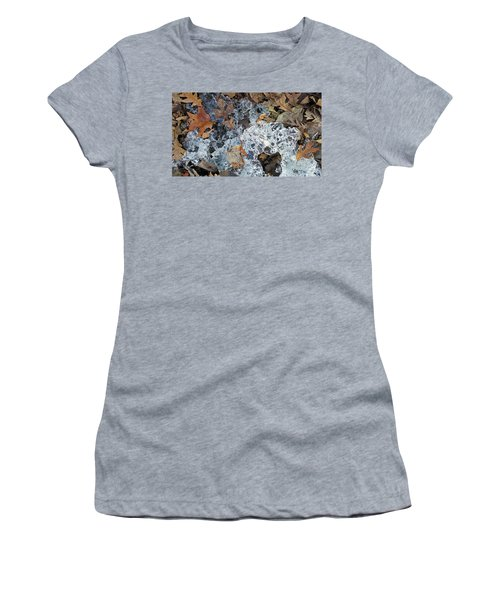 Fractured Ice Among Fall Leaves Women's T-Shirt