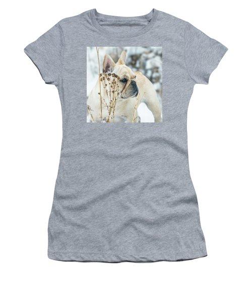 French Bulldog In The Snow Women's T-Shirt
