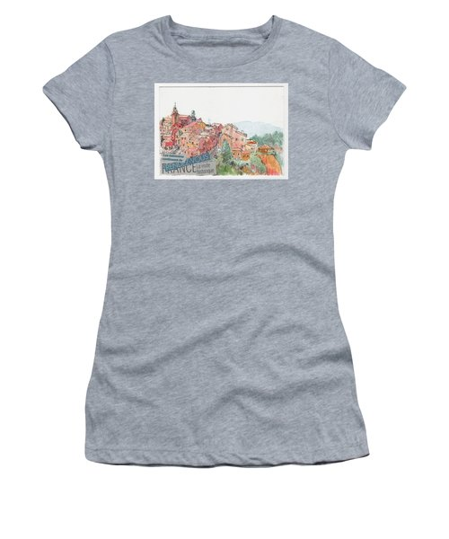 Women's T-Shirt (Junior Cut) featuring the painting French Hill Top Village by Tilly Strauss
