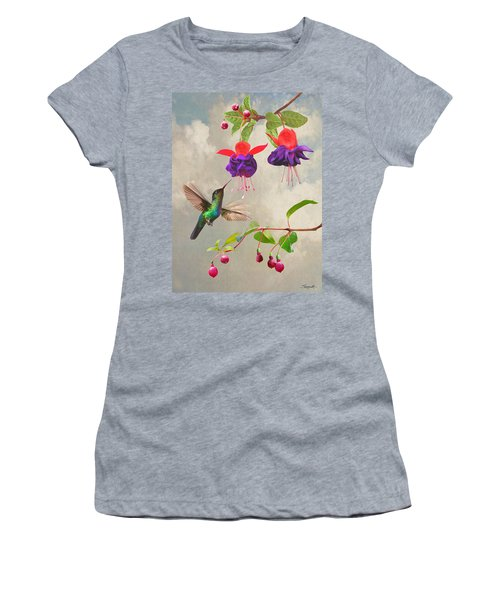 Fuchsia And Hummingbird Women's T-Shirt (Athletic Fit)