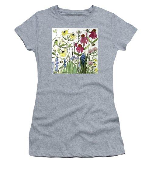 Garden Flowers With Bees Women's T-Shirt