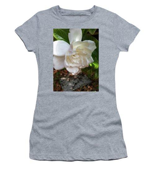 Gardenia Blossom Women's T-Shirt (Junior Cut) by Ginny Schmidt