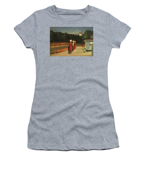 Gas  Women's T-Shirt (Junior Cut) by Edward Hopper