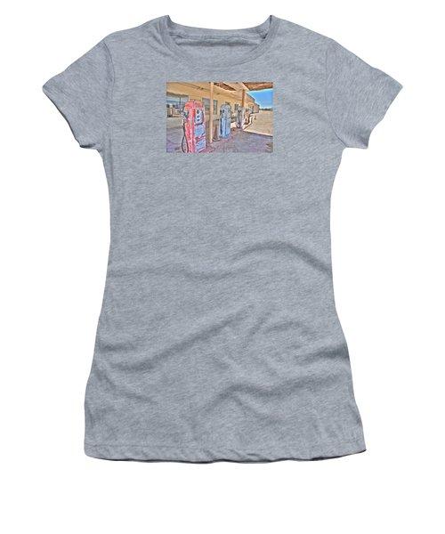 Women's T-Shirt (Junior Cut) featuring the photograph Gas Pumps by Matthew Bamberg