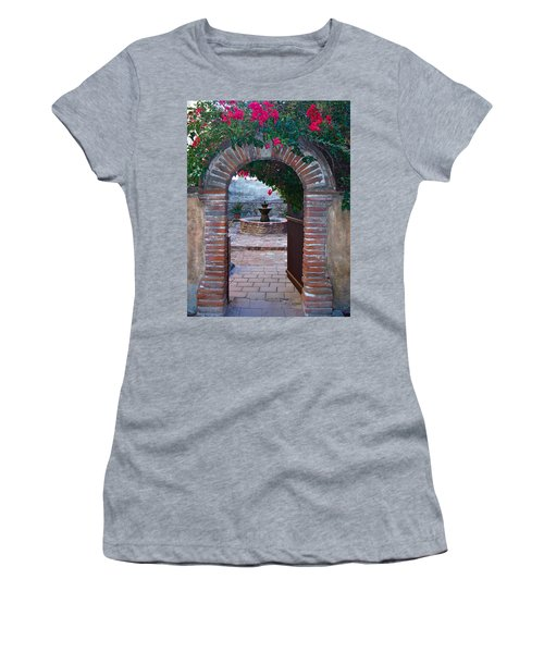 Gate To The Sacred Garden And Bell Wall Mission San Juan Capistrano California Women's T-Shirt (Athletic Fit)