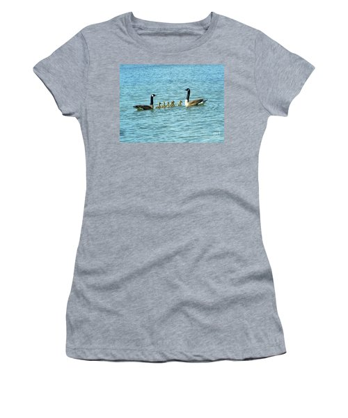 Women's T-Shirt featuring the photograph Geese Proud Parents by Rockin Docks Deluxephotos