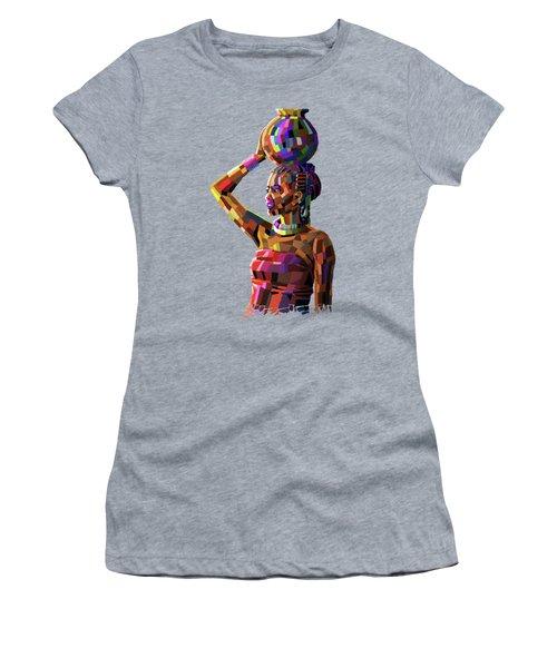 Girl Carrying Water Women's T-Shirt (Junior Cut) by Anthony Mwangi
