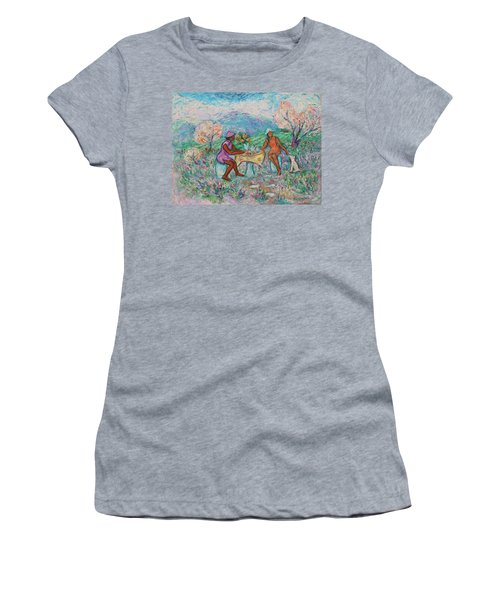 Women's T-Shirt (Athletic Fit) featuring the painting Girlfriends' Teatime Iv by Xueling Zou