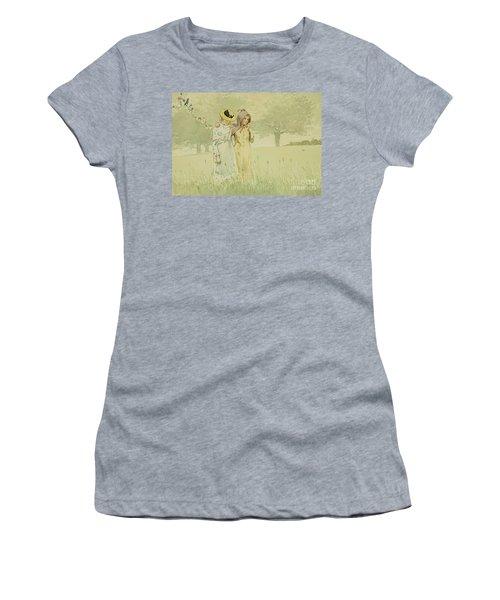 Girls Strolling In An Orchard Women's T-Shirt