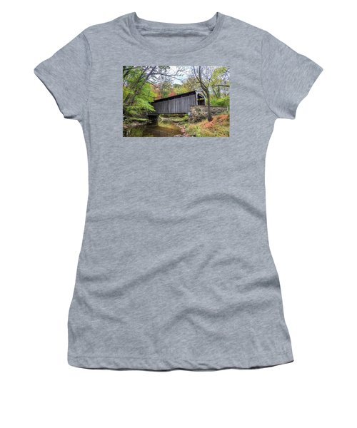 Glen Hope Covered Brige During Autumn Women's T-Shirt (Athletic Fit)