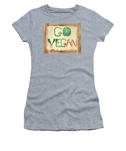Women's T-Shirt (Athletic Fit) featuring the painting Go Vegan Watercolor Sign by Irina Sztukowski