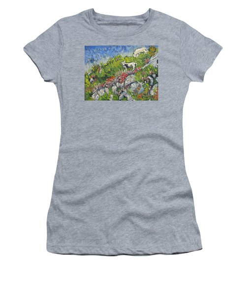 Women's T-Shirt (Junior Cut) featuring the painting Goats On Hill by Michael Daniels