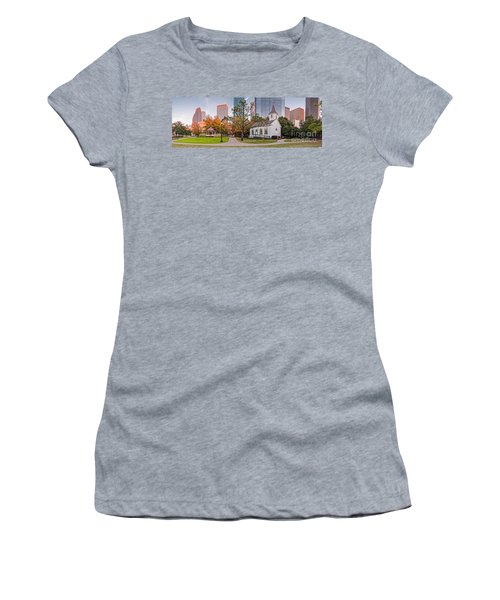 Golden Hour Fall Panorama Of Downtown Houston And St. John Church At Sam Houston Park - Texas Women's T-Shirt