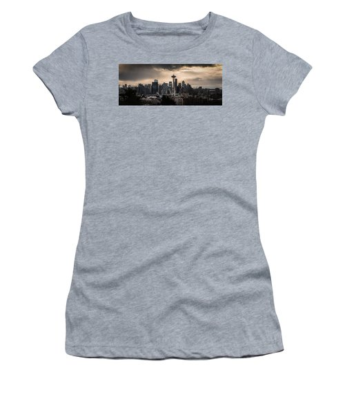 Women's T-Shirt (Junior Cut) featuring the photograph Golden Seattle by Chris McKenna
