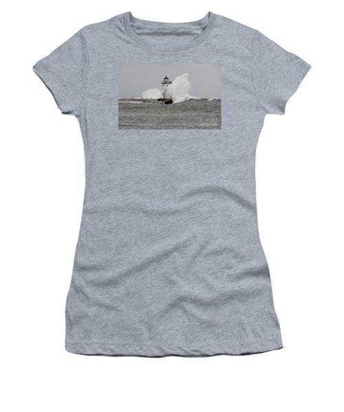 Grand Marais Lighthouse Women's T-Shirt (Junior Cut) by Sandra Updyke