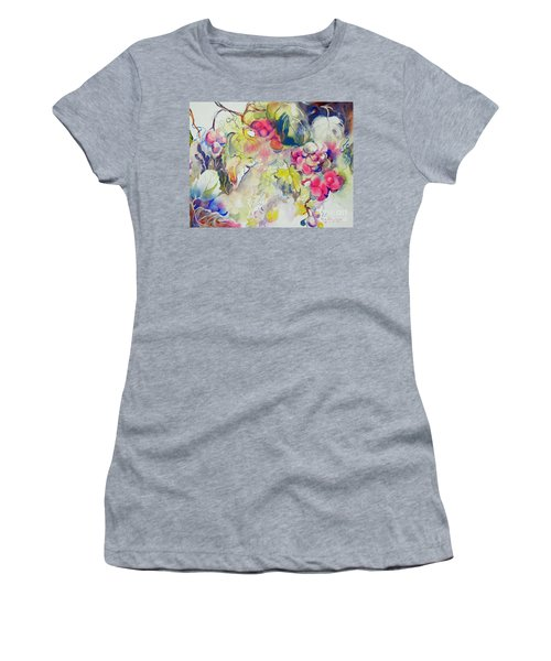 Women's T-Shirt (Junior Cut) featuring the painting Grapes In Season by Mary Haley-Rocks
