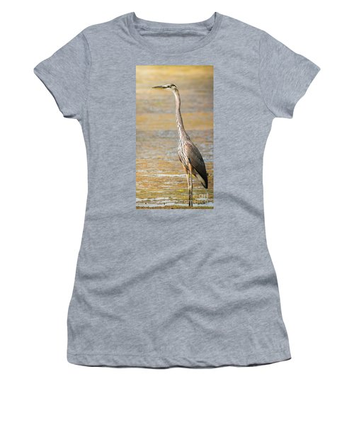 Women's T-Shirt (Junior Cut) featuring the photograph Great Blue At The Flats by Robert Frederick