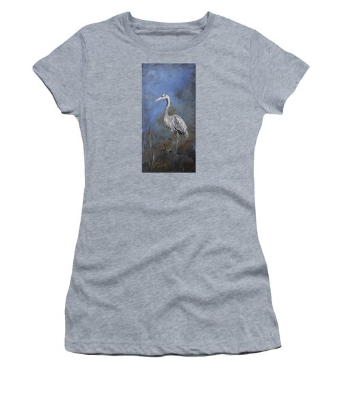 Great Blue Heron In Blue Women's T-Shirt (Athletic Fit)