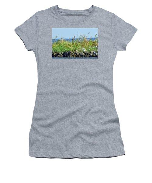 Great Blue Heron On Jetty Women's T-Shirt