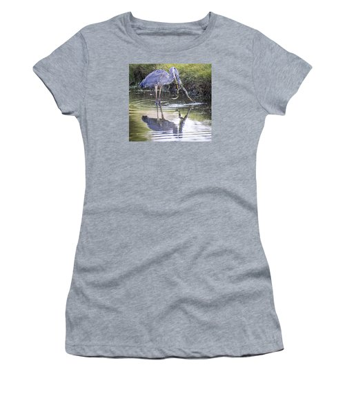 Great Blue Heron Vs Huge Frog Women's T-Shirt