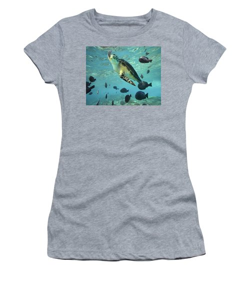 Women's T-Shirt featuring the photograph Green Sea Turtle Balicasag Island by Tim Fitzharris