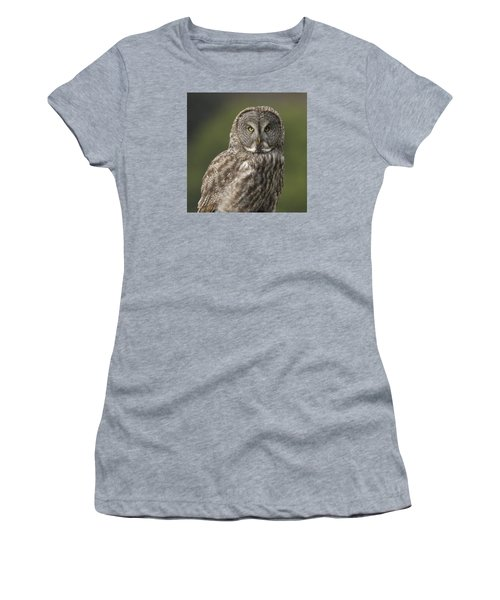 Women's T-Shirt (Junior Cut) featuring the photograph Great Gray Owl Portrait by Doug Herr