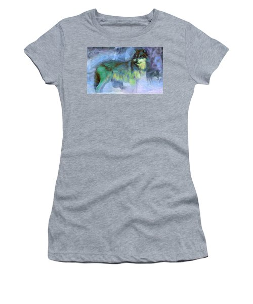 Grey Wolves In Snow Women's T-Shirt (Athletic Fit)
