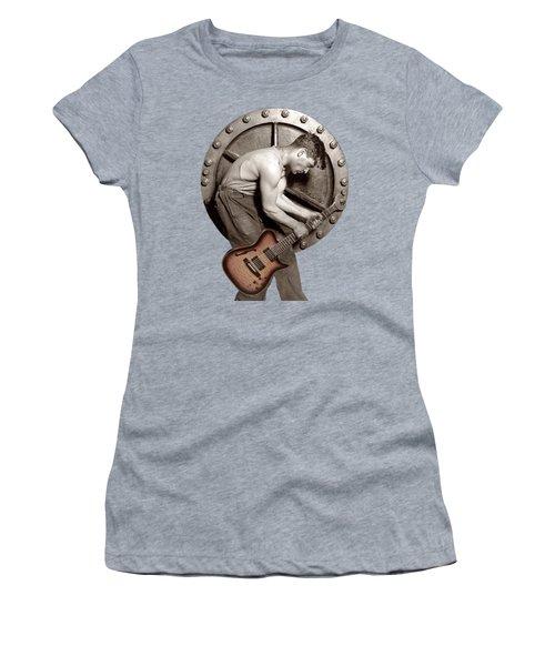 Women's T-Shirt (Junior Cut) featuring the photograph Guitar Mechanic T Shirt by Martin Konopacki Restoration