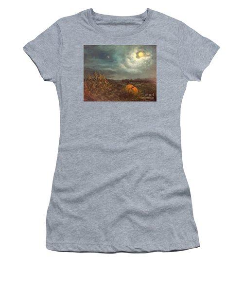 Halloween Mystery Under A Star And The Moon Women's T-Shirt (Junior Cut) by Randy Burns
