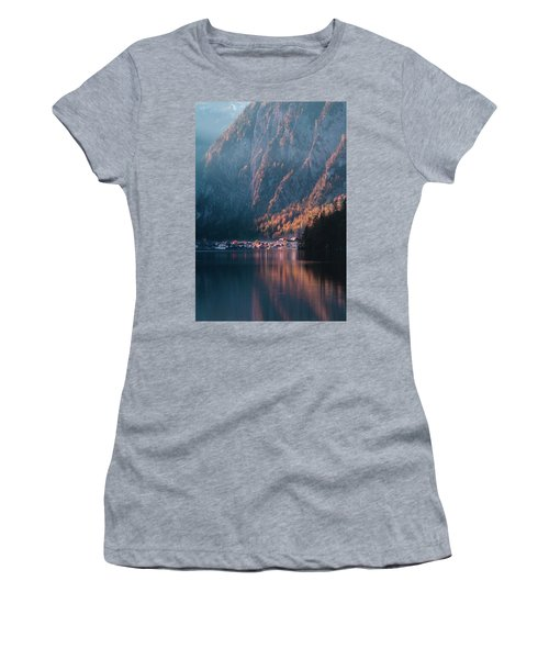 Women's T-Shirt (Athletic Fit) featuring the photograph Hallstatt Fall by Geoff Smith