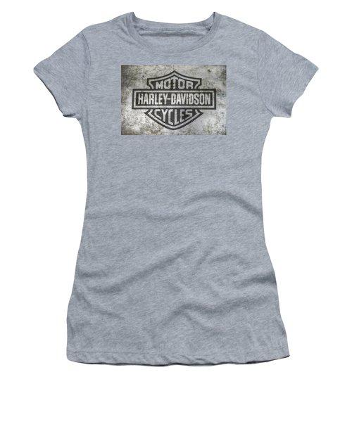 Harley Davidson Logo On Metal Women's T-Shirt (Junior Cut) by Randy Steele