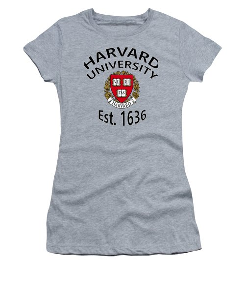 Women's T-Shirt (Junior Cut) featuring the digital art Harvard University Est 1636 by Movie Poster Prints