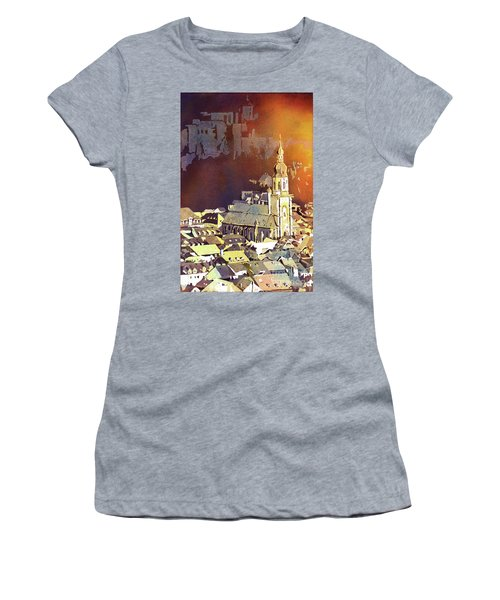 Women's T-Shirt (Junior Cut) featuring the painting Heidelberg Sunset- Germany by Ryan Fox