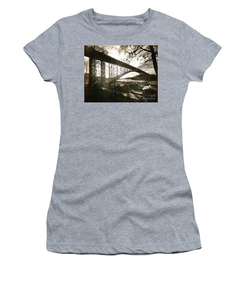 Women's T-Shirt (Junior Cut) featuring the photograph Henry Hudson Bridge, 1936 by Cole Thompson