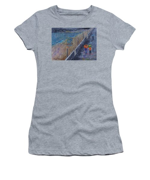 Women's T-Shirt (Athletic Fit) featuring the painting Hermosa Beach Rain by Jamie Frier