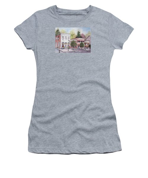 Women's T-Shirt (Junior Cut) featuring the painting Historic Blue Ridge, Georgia by Gretchen Allen