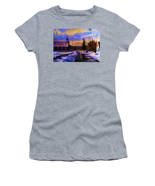 Hockey Game In The Village Women's T-Shirt