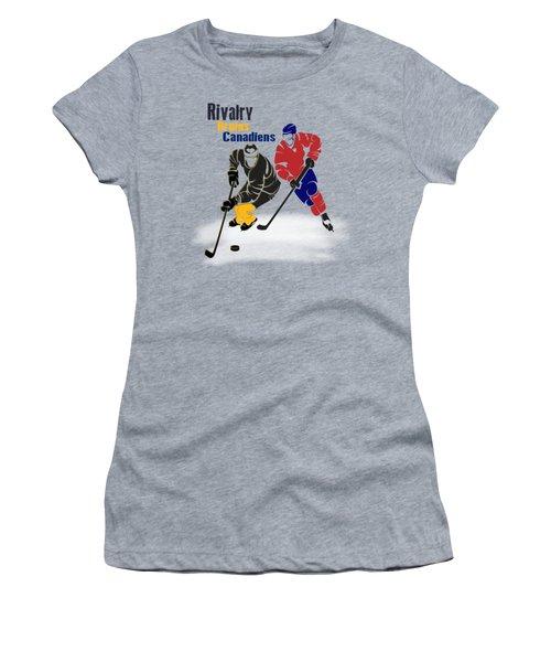 Hockey Rivalry Bruins Canadiens Shirt Women's T-Shirt (Junior Cut) by Joe Hamilton