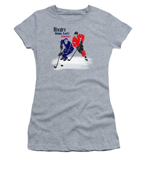 Hockey Rivalry Maple Leafs Senators Shirt Women's T-Shirt (Junior Cut) by Joe Hamilton