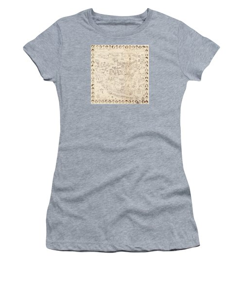 Hollywood Map To The Stars 1937 Women's T-Shirt (Junior Cut) by Don Boggs