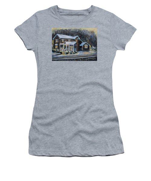 Home On A Snowy Eve Women's T-Shirt (Junior Cut) by Rita Brown