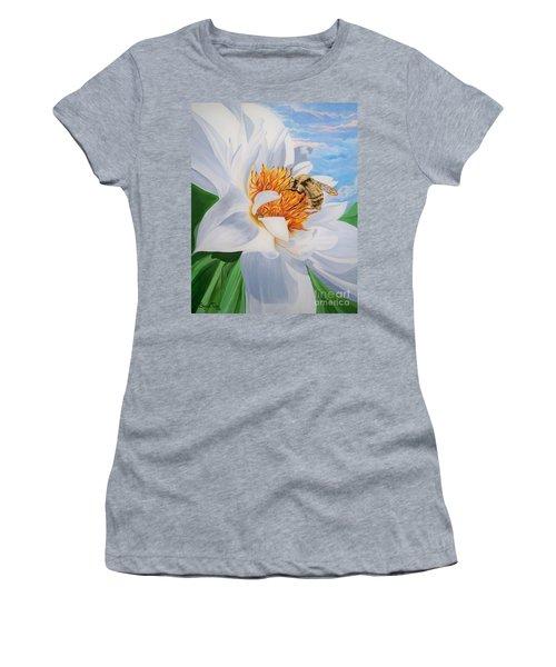 Honey Bee On White Flower Women's T-Shirt (Athletic Fit)