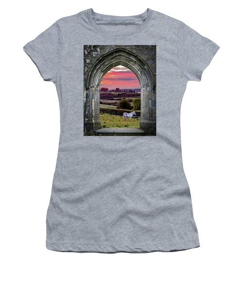 Women's T-Shirt (Athletic Fit) featuring the photograph Horse At Sunrise In County Clare by James Truett