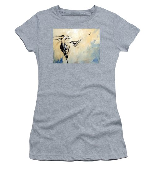 Horse Calling Crow Women's T-Shirt (Junior Cut) by Dina Dargo
