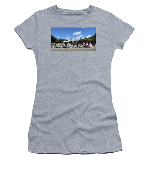 Women's T-Shirt (Junior Cut) featuring the photograph Horse Carriages by Steven Spak