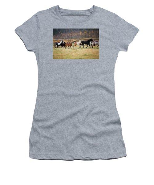 Horses Women's T-Shirt (Junior Cut) by Sharon Jones