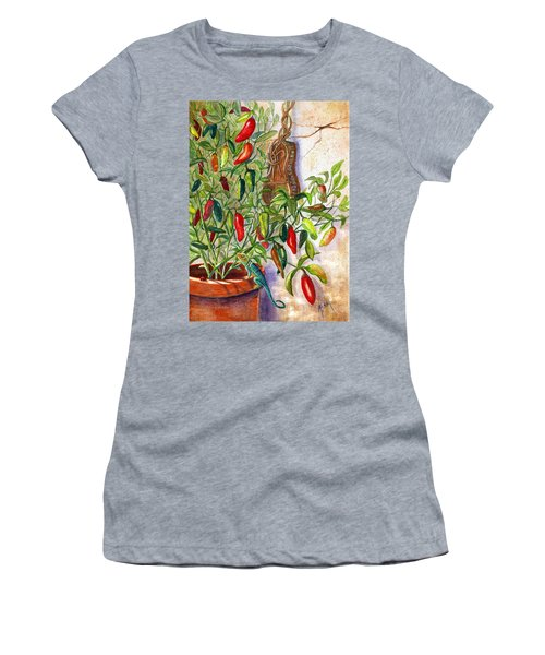 Women's T-Shirt (Junior Cut) featuring the painting Hot Sauce On The Vine by Marilyn Smith